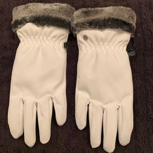 White Head Lined gloves w/ e tips, faux fur